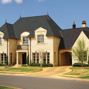Photo displaying a home using GAF's Camelot Royal Slate shingles